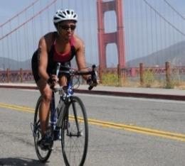 Annette on the bike portion of Escape from Alcatraz triathlon