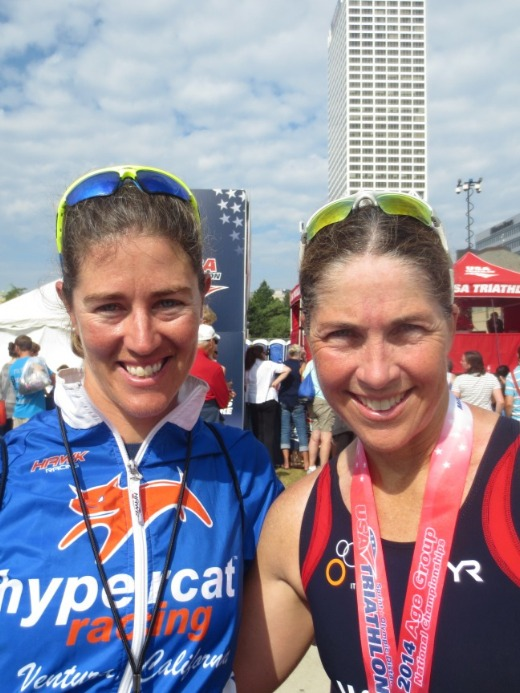 Coach Rachel & Elaine with medal after nationals race
