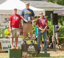 3 men stand on awards podium at Maine triathlon