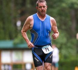 Matt on the run during a triathlon race