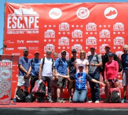 Group pictures of Hypercat athletes on stage at Escape from Alcatraz triathlon