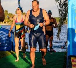 Jason finishes the swim leg of the aquathlon