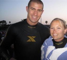 Husband and wife after swim at Ironman Arizona