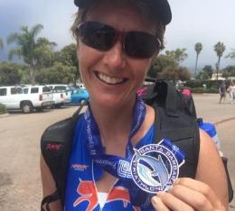 Sarah shows her Santa Barbara Triathlon finishers medal