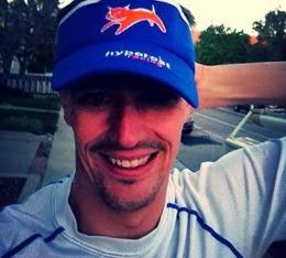A happy man models the Hypercat Racing visor.