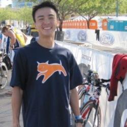 Atthlete wearing Hypercat logo'd t-shirt smiles for camera