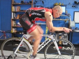Male on bike for bike fitting