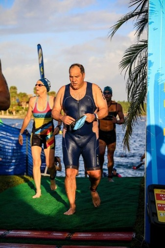 Aquavike swim exit - racers leave water head to transition