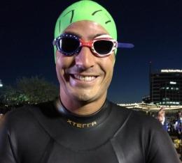 Jared is ready to swim at Ironman Arizona